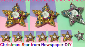 Easy Christmas Tree Decorations Christmas Star Making With Newspaper Christmas Tree Decorating