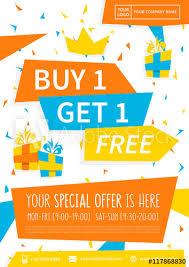 design poster buy promotion banner buy 1 get 1 free vector illustration special offer