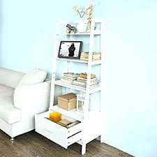Natural Oak Leaning Shelves With Ladder Bookcase With Drawers U2013 Boothify Me