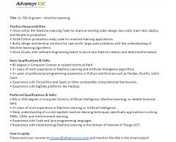 Machine Learning Resume Advansys Esc Linkedin