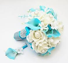 turquoise roses blue white bridal bouquet roses calla lilies stephanotis with