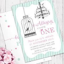 aqua u0026 pink birdcage personalised birthday invitation for girls