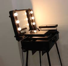 rolling makeup case with lighted mirror black pink free shipping to usa wheeled organizer lighted makeup