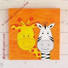 tableaux chambre bébé tableau enfant bébé savane jungle girafe et zèbre