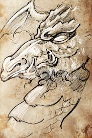 dragon tattoo sketch handmade design over vintage paper stock