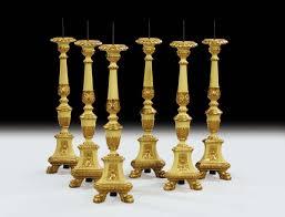 candelieri antichi sei candelieri in legno intagliato dorato e laccato xix secolo