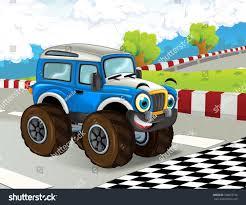 monster truck for children cartoon cartoon scene happy smiling monster truck stock illustration