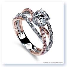 pink gold engagement rings 18k white and gold band crossover pink and white
