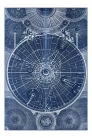 Map Of Universe Framed Celestial Map Of The Universe In Blue Astronomy Blueprint