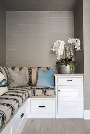 built in bench nook clad in gray grasscloth transitional