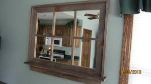 barnwood window mirror with shelf large size