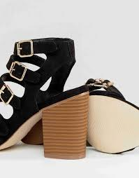 new look multi buckle detail heeled sandal