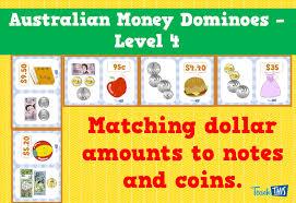 australian money dominoes level 4 fun printable classroom games