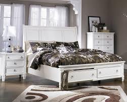 ashley furniture platform bedroom set white bed with storage footboard by ashley