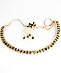 black necklace sets images Black stone studded american diamond necklace set sharepyar JPG