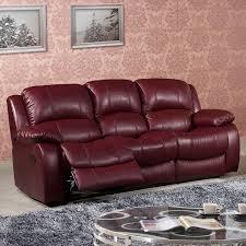 Burgundy Leather Sofa 3 Seater Recliner Sofa