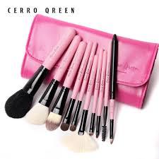cerro qreen fashion makeup brush kit natural animal wool 10pcs