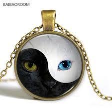 aliexpress yang yin and yang tai chi bagua cat face retro short necklace wholesale