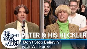 Will Ferrell Meme Origin - peter and his heckler don t stop believin with will ferrell