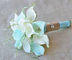 silk calla lilies silk flower wedding bouquet mint aqua robbin s egg or aruba blue