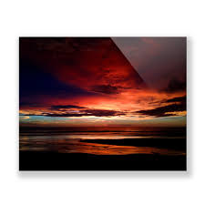 frameless plexiglass photography print beach at sunset
