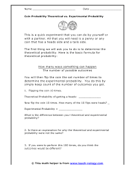 Experimental Probability Worksheet Coin Probability Theoretical Vs Experimental Probability