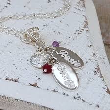 name charms personalised silver birthstone necklace by indivijewels