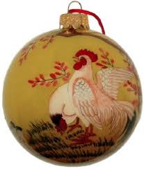 tree ornaments with a chicken theme