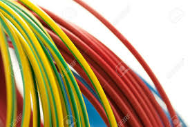 3 colors copper cables red blue and green yellow isolated over