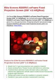 elite home theater screens elite screens r200 rv1 ezframe fixed projection screen 200 43 ar rear