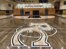 Gym Floor Refinishing Supplies by Rock Canyon High Custom Stain Gym Floor 12 All City
