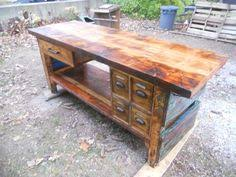 vintage industrial workbench dining table handmade to order on