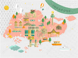 Singapore Map World adorable singapore must see attractions travel map in flat style