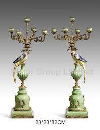 pair colorful porcelain parrots candle holder home decor bronze
