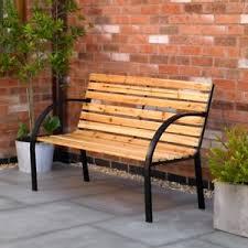 norwegian style garden bench outdoor patio wood slat furniture metal