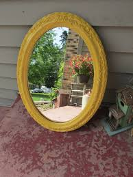 home interiors mirrors oval mirror mustard yellow upcycled home interior mirror by