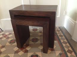 dark wood side table solid mango dark wood nest of two side tables in leicester