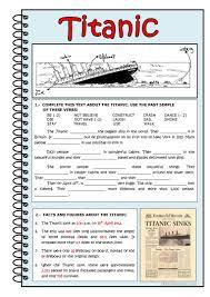 Titanic Second Class Menu by 21 Free Esl Titanic Worksheets