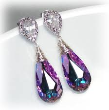 purple earrings gold swarovski crystallized teardrop earrings vitrail light