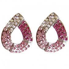 big stud earrings pink diamante teardrop large stud earrings costume jewellery