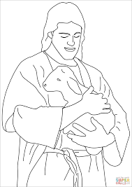 jesus christ holding a lamb coloring page free printable