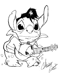 lilo and stitch coloring pages playing guitar coloringstar