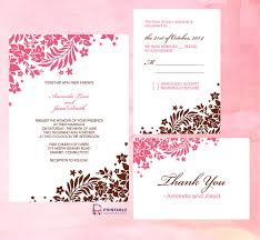 printable wedding invitation kits pink and brown foliage wedding invitation invitation kits free