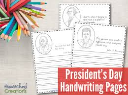 president u0027s day handwriting pages free printables