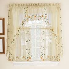 Kitchen Tier Curtains Swag Curtains For Kitchen Cherry Blossoms Country Print 3 Piece