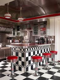 awesome retro kitchen style with red stools and checkerboard