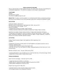 graduate resume template exle of resume for fresh graduate http jobresumesle