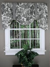 Toile Cafe Curtains Park Tie Up Curtain Black Toile Ellis Kitchen Valances