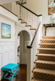 traditional stair tread with black lacquer side table staircase