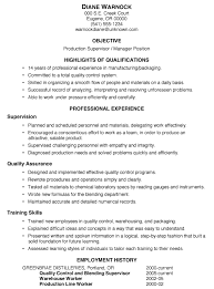 Excellent Resume Example by Resume Sample Production Supervisor Manager